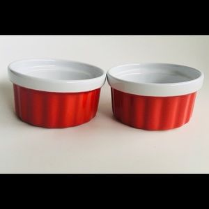 Retro Red & White Individual Ceramic Ramekins